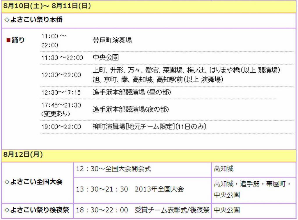 第60回 高知よさこい祭り2013 8月10日〜12日 日程