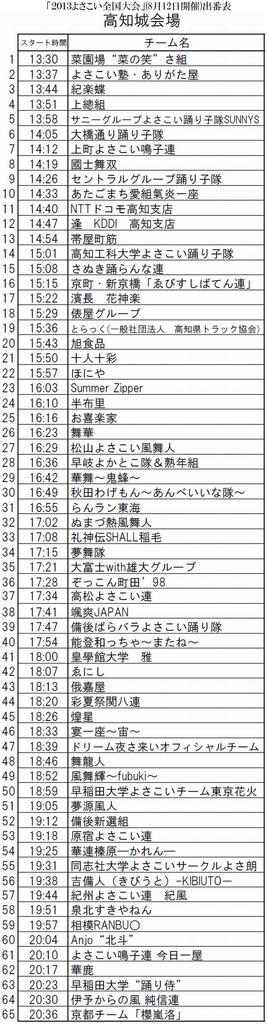 第60回高知よさこい祭り2013 よさこい全国大会 高知城 出番表 最終版